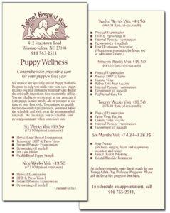 "Animal Hospital West ""Puppy Wellness"" flyer"