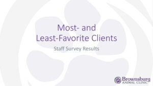 Brownsburg Animal Clinic 'Most- and Least-Favorite Clients' presentation title slide