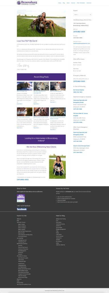 Brownsburg Animal Clinic January 2021 Home Page Redesign