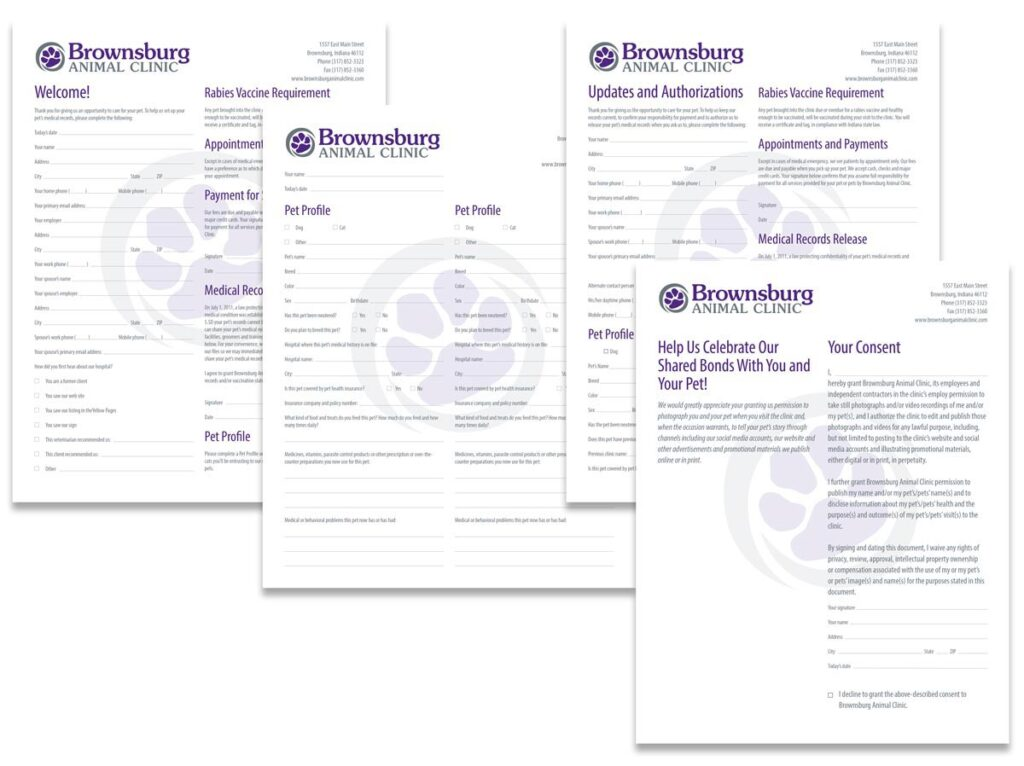 Brownsburg Animal Clinic 'Welcome,' 'Pet Profile,' 'Updates and Authorizations' and 'Help Us Celebrate Our Shared Bonds With You and Your Pet' publicity consent form