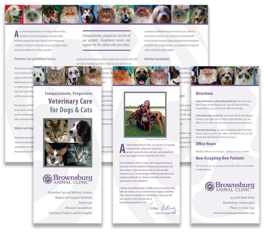 Brownsburg Animal Clinic 'Compassionate, Progressive Veterinary Care for Dogs and Cats' brochure