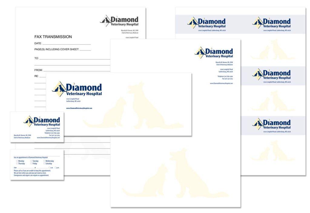 Diamond Veterinary Hospital Custom logo and stationery