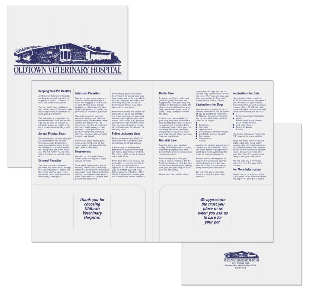 Oldtown Veterinary Hospital Educational pocket folder