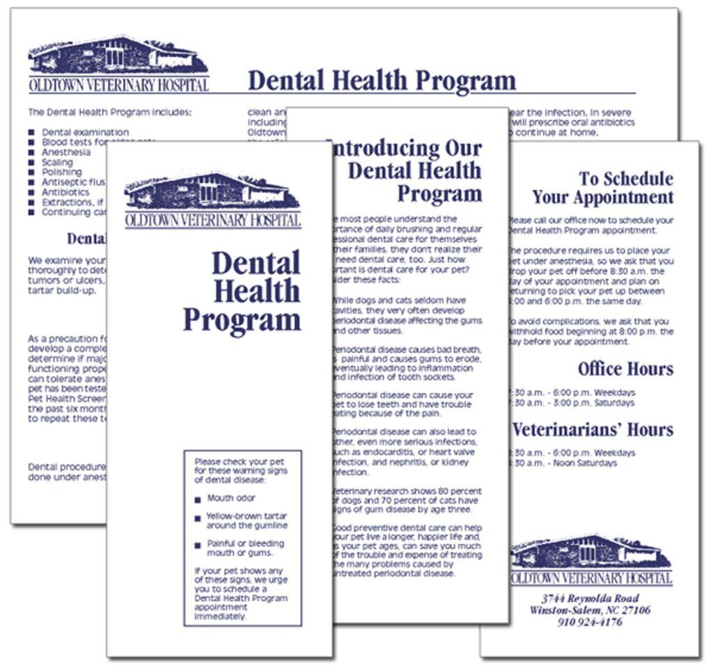 "Oldtown Veterinary Hospital ""Dental Services"" brochure"