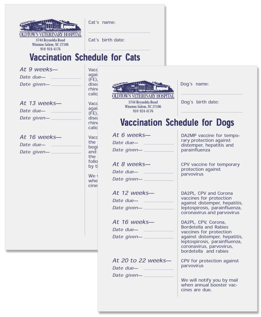 """Oldtown Veterinary Hospital """"Vaccine Schedule for Dogs"""" and """"Vaccine Schedule for Cats"""" flyers"""