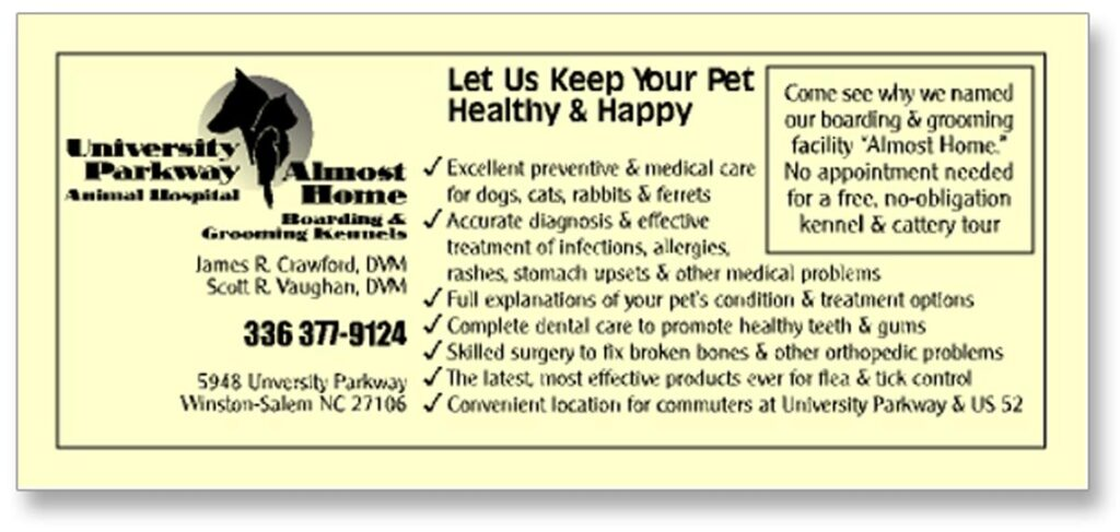 University Parkway Animal Hospital Yellow Pages advertisement