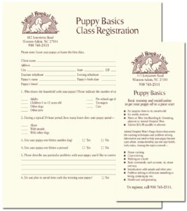 """Animal Hospital West """"Puppy Basics Class"""" flyer and registration form"""