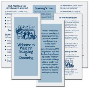 """""""Welcome to West Inn Boarding & Grooming"""" brochure"""
