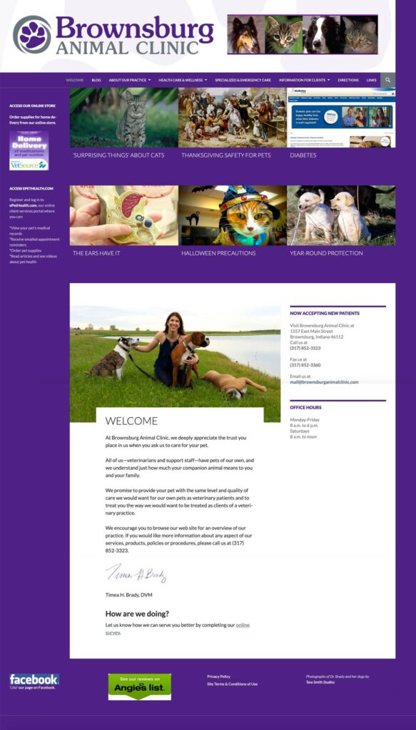 Brownsburg Animal Clinic home page after 2014 redesign