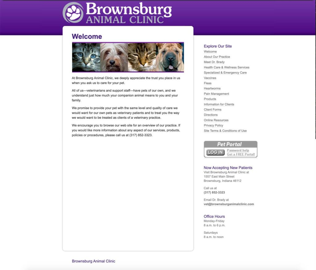 Brownsburg Animal Clinic home page as it appeared in April 2010