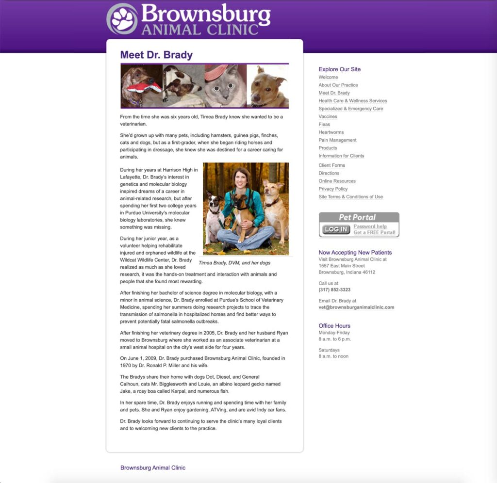 Brownsburg Animal Clinic 'Meet Dr. Brady' page as it appeared in April 2010