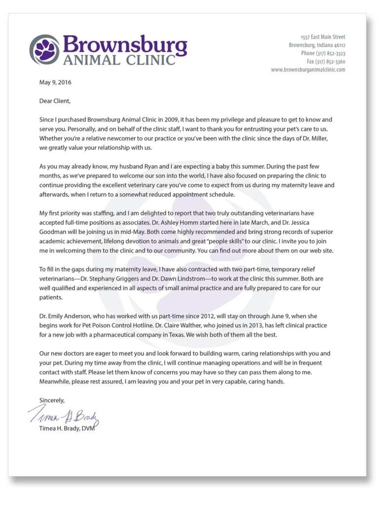 Brownsburg Animal Clinic May 2016 letter announcing Dr. Brady's maternity leave