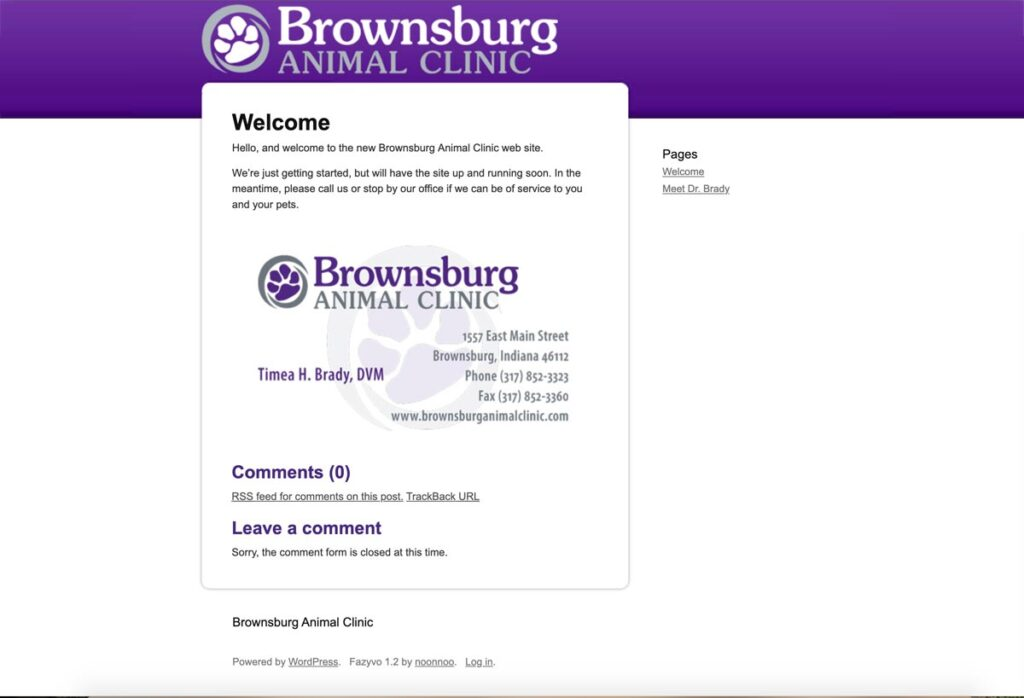 Brownsburg Animal Clinic home page as of June 2009