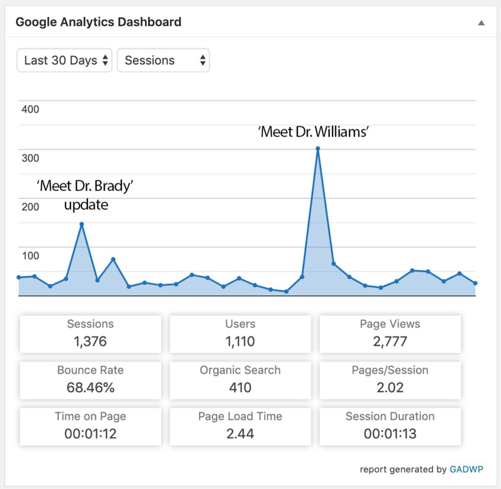 Brownsburg Animal Clinic Google Analytics traffic comparison of 'Meet Dr. Brady' update and 'Meet Dr. Williams' page publication
