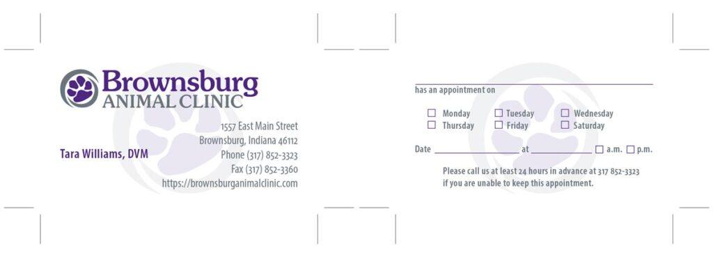 Brownsburg Animal Clinic associate's business card