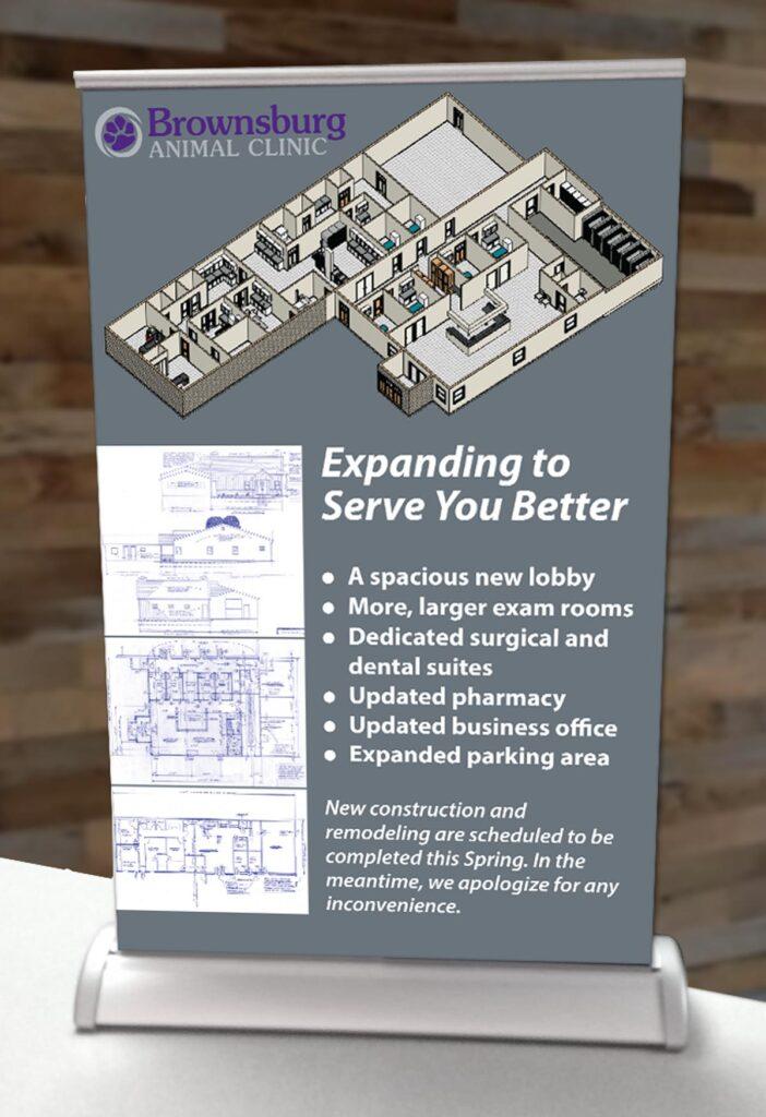 Brownsburg Animal Clinic countertop banner showing blueprints and floor plan schematic