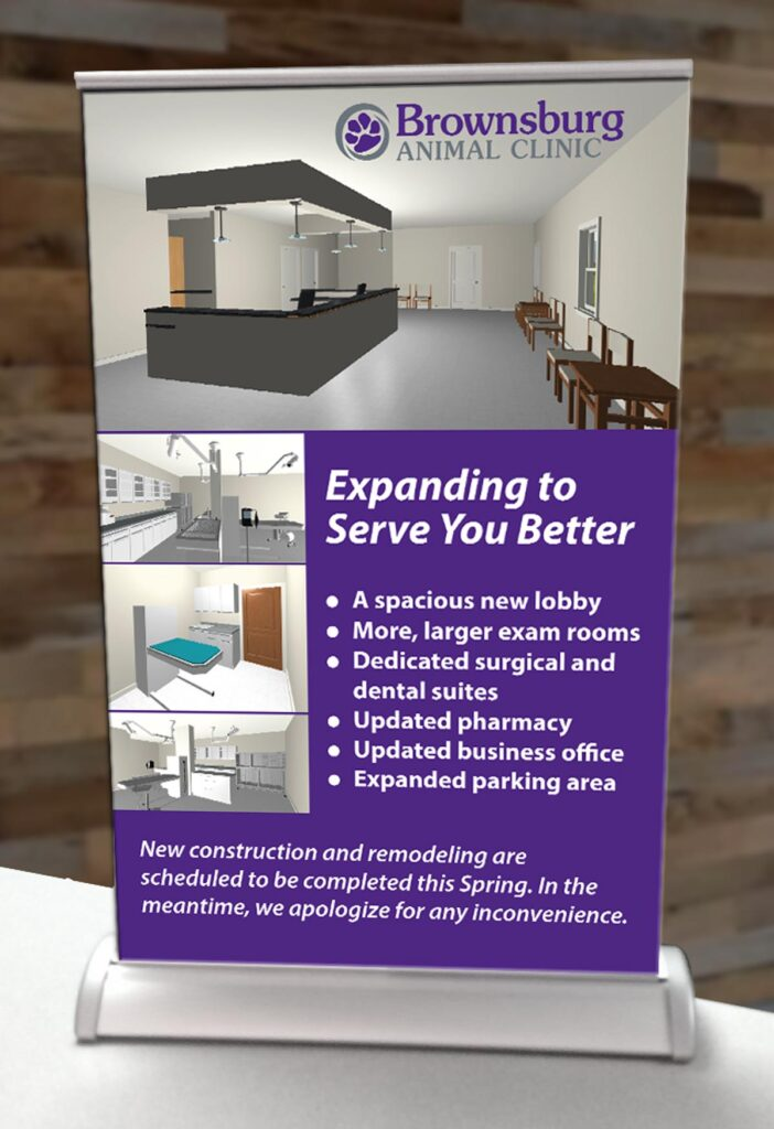 Brownsburg Animal Clinic countertop banner showing architect's renderings of the new spaces