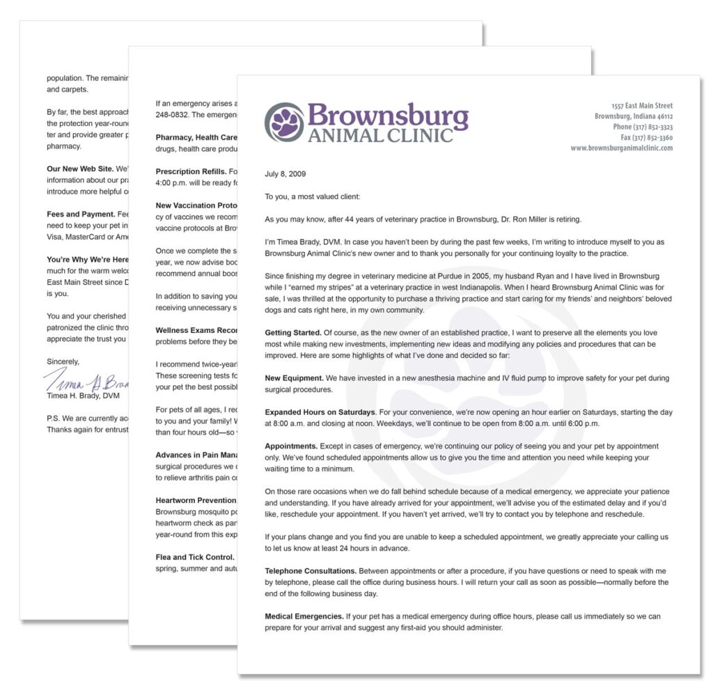 Brownsburg Animal Clinic 3-page letter introducing Dr. Brady as the clinic's new owner