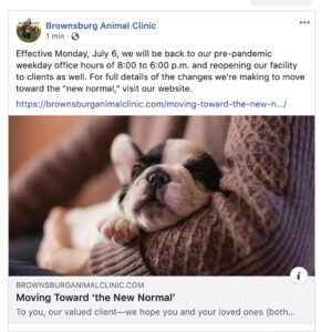"""Brownsburg Animal Clinic Facebook post linking to """"Moving Toward the 'New Normal'"""" blog post"""