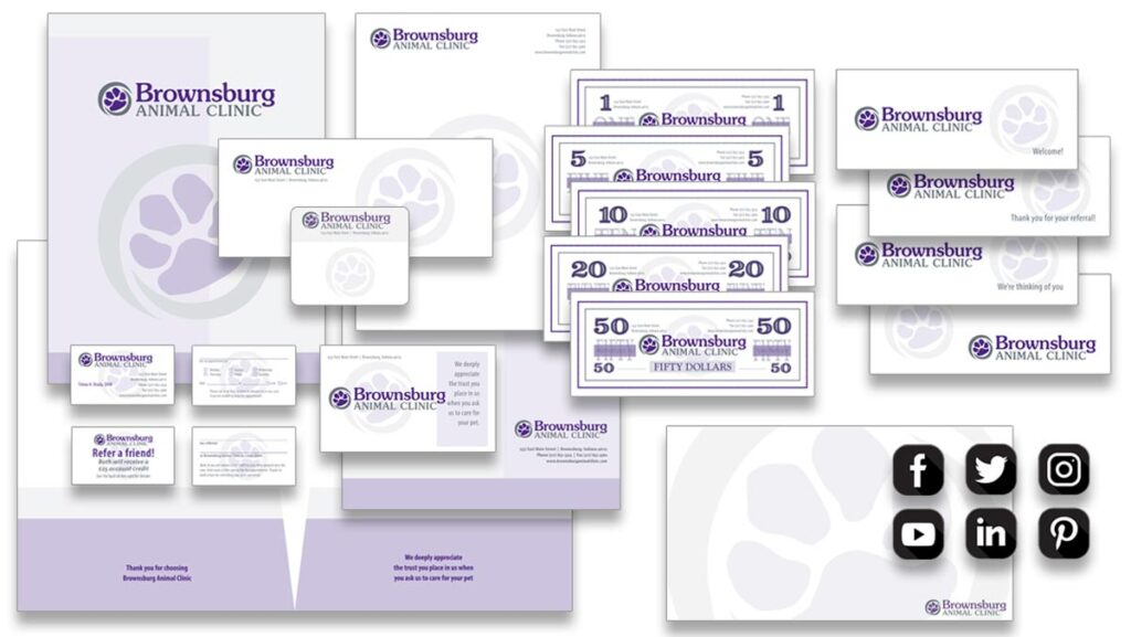 Brownsburg Animal Clinic Ultimate Identity Package from VeterinaryLogos.com