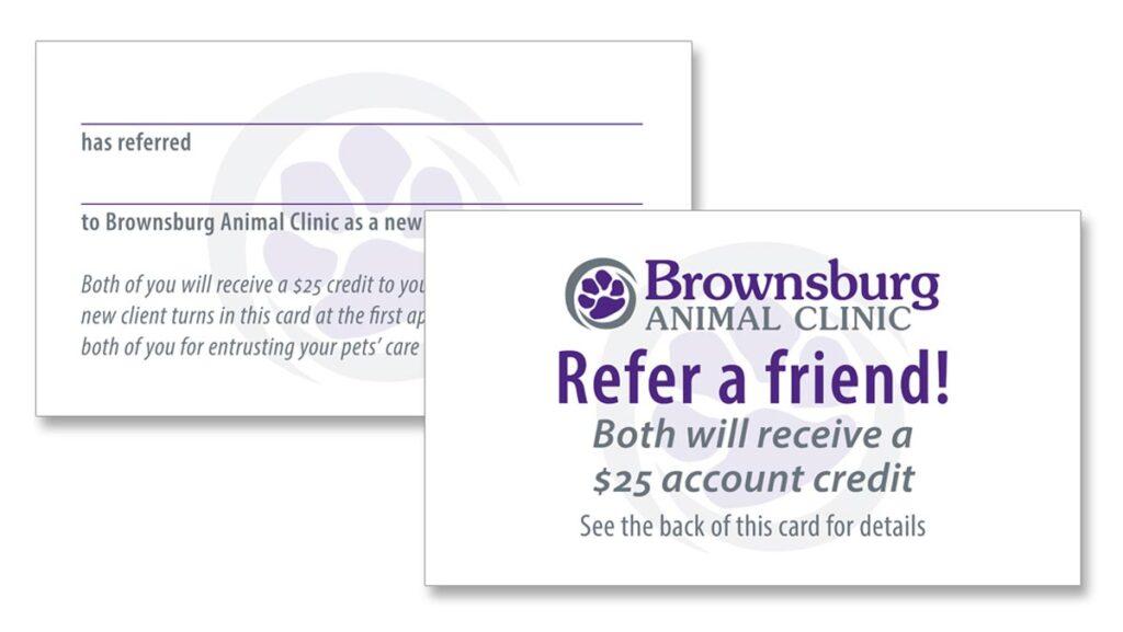 Brownsburg Animal Clinic 'Refer a friend' card