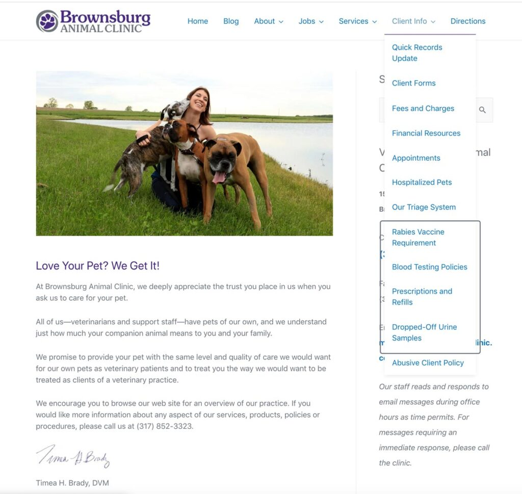 Brownsburg Animal Clinic screen shot of the 'Information for Clients' drop-down menu showing additional pages explaining policy changes