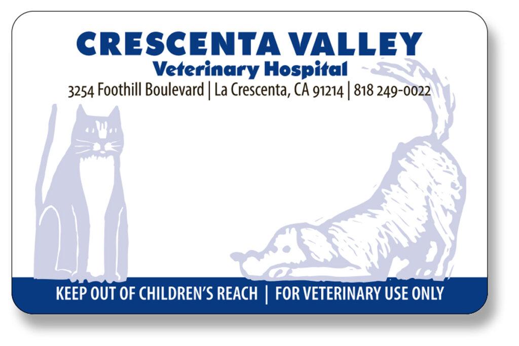 Crescenta Valley Veterinary Hospital Prescription label
