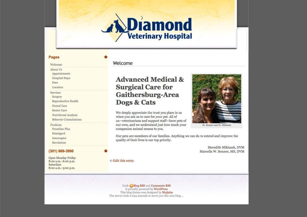 Diamond Veterinary Hospital First website