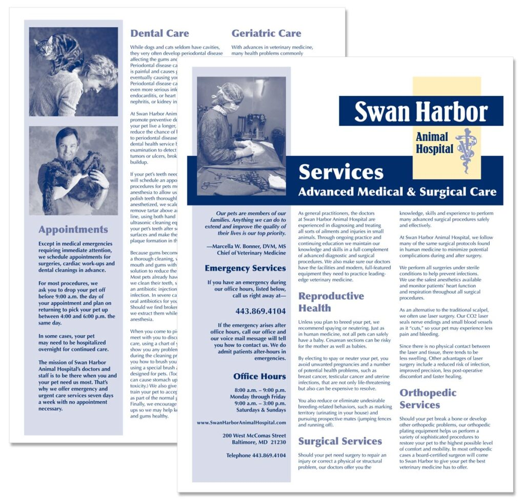 """Swan Harbor Animal Hospital """"Services: Advanced Medical and Surgical Care"""" brochure"""