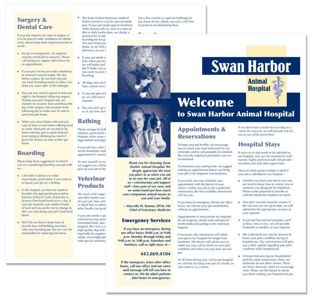 """Welcome to Swan Harbor Animal Hospital"" brochure"