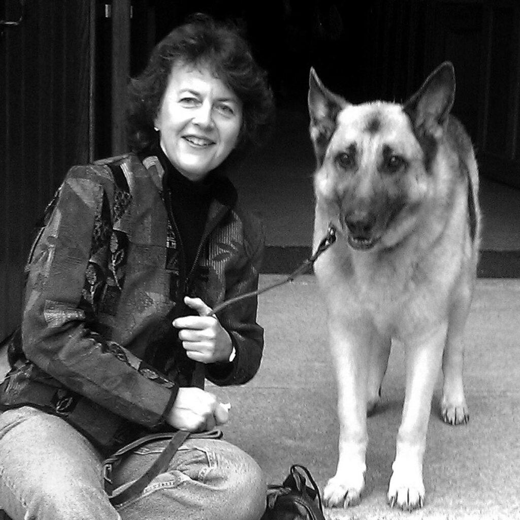 Kerry Nesbit with her German shepherd dog Jack