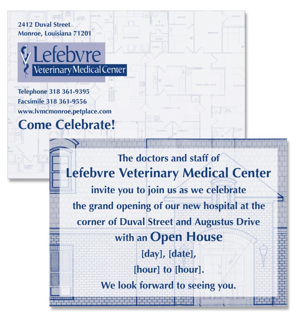 Lefebvre Veterinary Medical Center Open house invitation