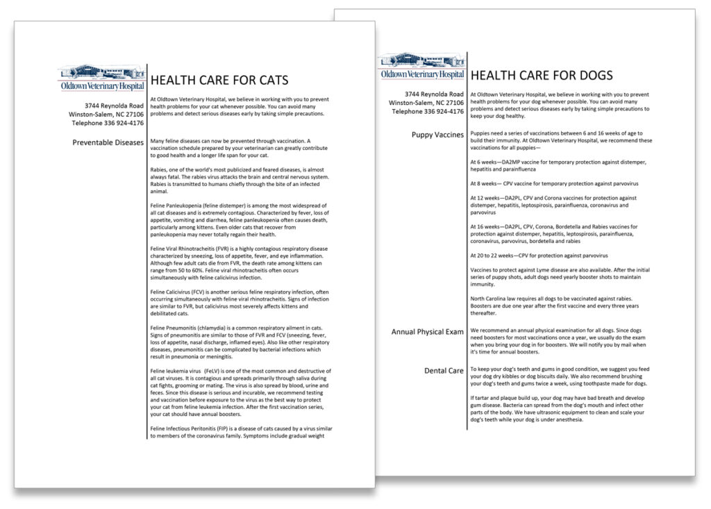 """Oldtown Veterinary Hospital """"Health Care for Dogs"""" and """"Health Care for Cats"""" manuals"""