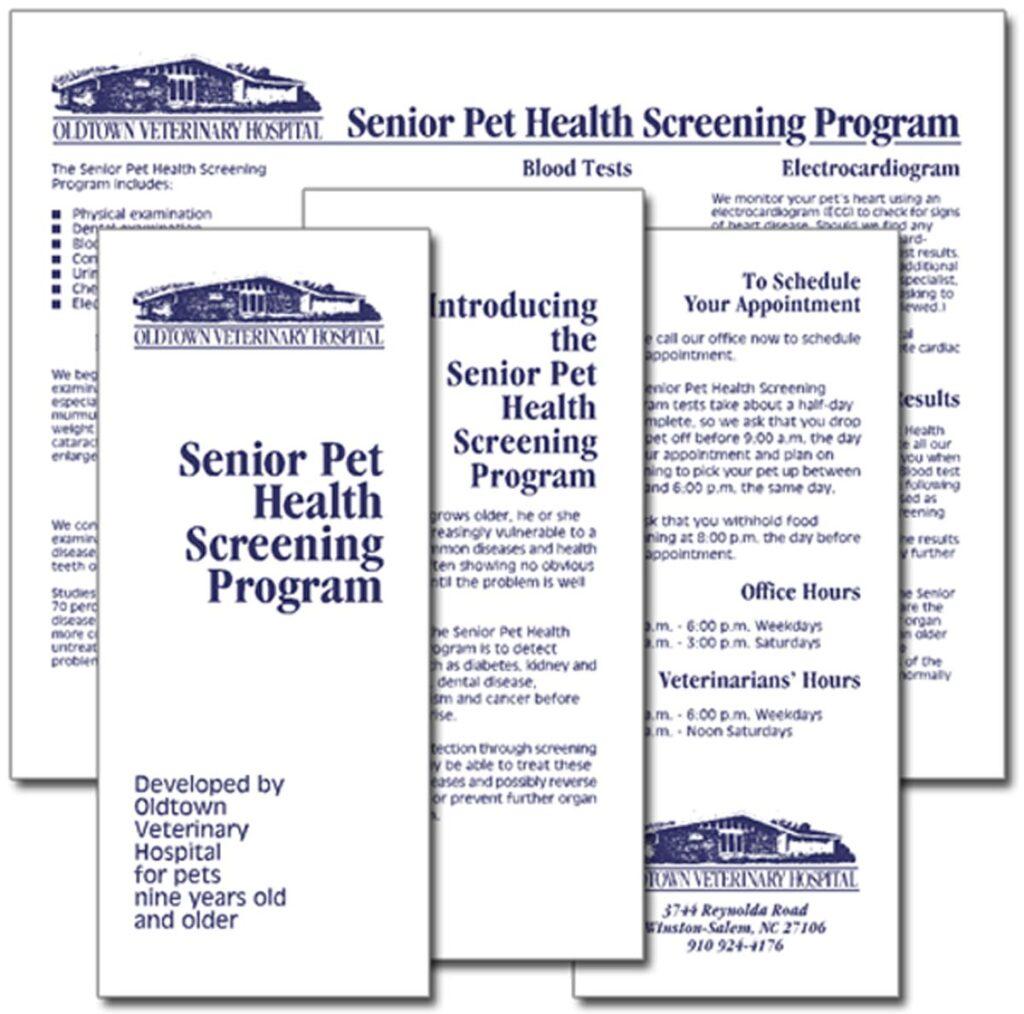 "Oldtown Veterinary Hospital ""Senior Pet Health Screening Program"" brochure"