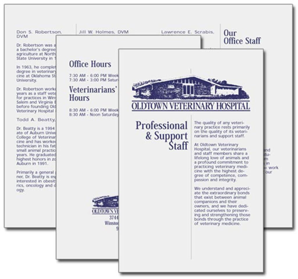 """Oldtown Veterinary Hospital """"Professional and Support Staff"""" flyer"""
