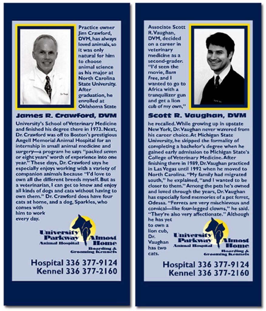 University Parkway Animal Hospital Doctors' biographies flyer